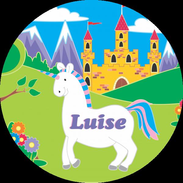 Tortenaufleger Einhorn-Schloss mit Namen