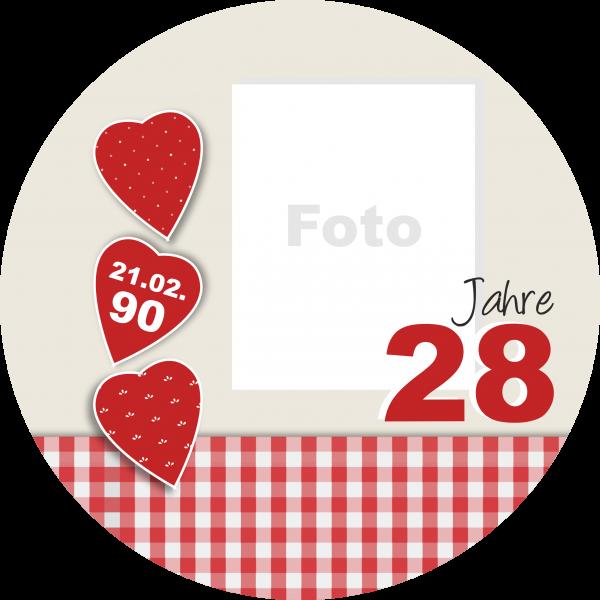 Tortenaufleger Herz mit Foto, Alter und Datum