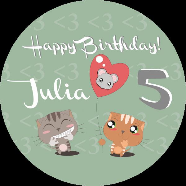 Tortenaufleger Luftballon-Katze mit Namen und Alter